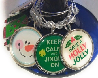 Christmas Holly Jolly Wine Charms Pack Of 6