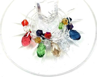 Crystal Wine Charms With Swarovski Element Briolette Cut Crystal - Swarovski Crystal Element 5/Pack