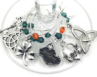 St. Patrick's Day Wine Charms - Celtic Irish Wine Charms - 6/pack