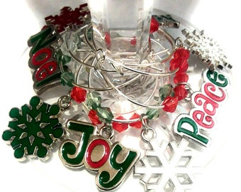 Inspirational Christmas Wine Charms - Inspirational & snowflake 8/Pack