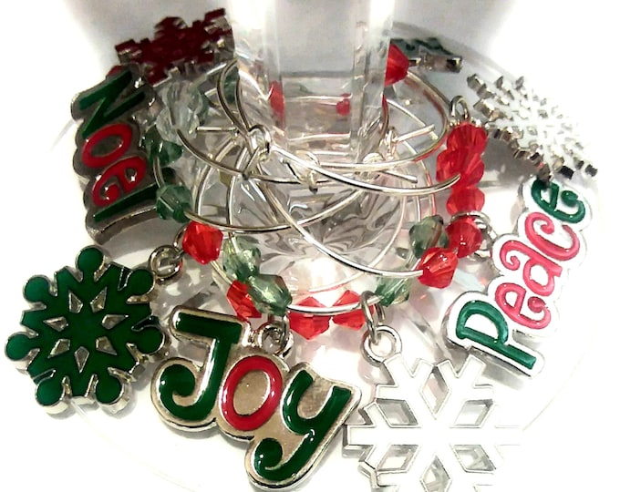 Inspirational Christmas Wine Charms - Inspirational & snowflake 8/Pack - Party Favor Packaging Option Available
