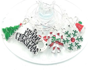Gift Boxed Festive Christmas Wine Charms - Silver Tone 6/Pack - gift box option