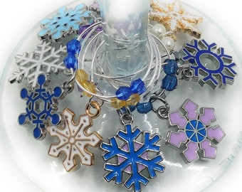Christmas Wine Charms - Snowflakes, 9 pack - Party Favor Packaging Option Available