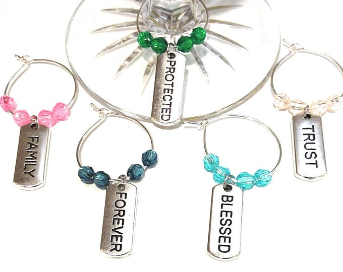 Inspirational Wine Charms - Blessed - 5 pack