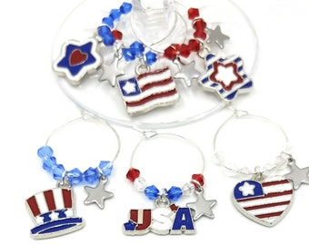 Fourth Of July Wine Charms - Independence Day/July 4th - Stars and Stripes Silver - Pack of 6