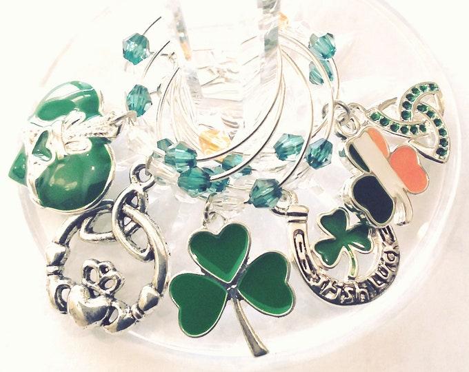 St. Patrick's Day Wine Charms - Irish Flag Shamrock - 6/pack