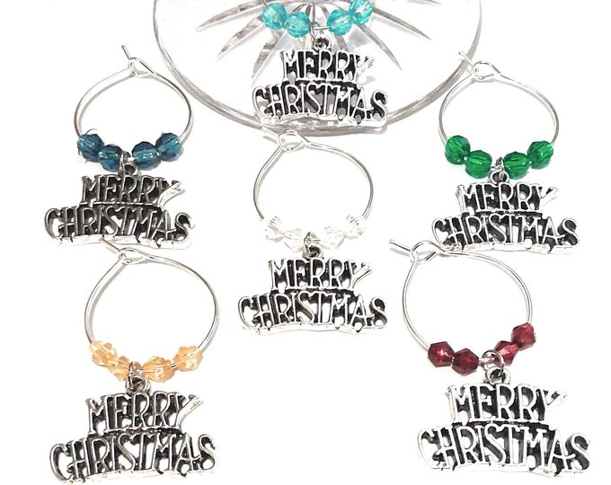 Merry Christmas Wine Glass Charms Silver Tone - Pack Of 6