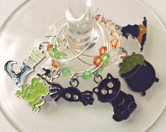 Halloween Wine Charms - All Things Witches Enamel Set, 6 pack - Party Favor Packaging Available