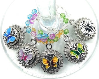 Butterfly Wine Charms For Summer Party - Fourth Of July Wine Charms - Independence Day/July 4th - Pack of 5