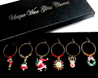 Gift Boxed Festive Christmas Wine Charms - 6/Pack