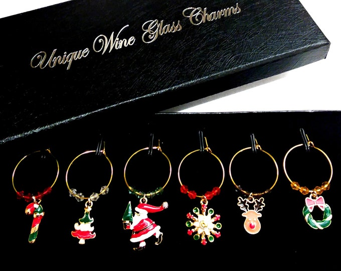 Gift Boxed Festive Christmas Wine Charms - 6/Pack - gift box option