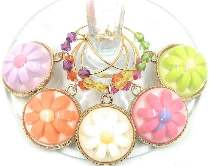 Flower Wine Charms For Easter and Mother's Day - 5 pack