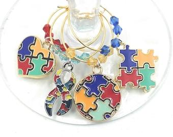 Autism Awareness Wine Glass Charms - 4 per set