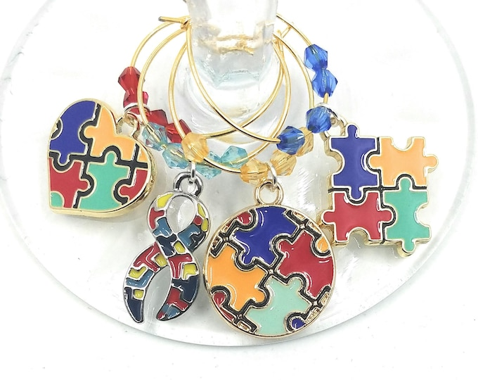 Autism Awareness Wine Glass Charms - 4 per set