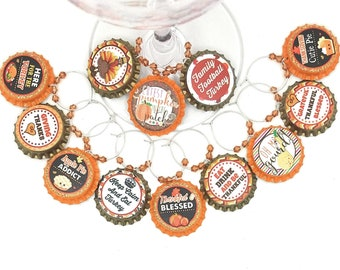 Thanksgiving Bottle Cap Wine Charms - Oh My Gourd! - 12 charms/set - Party Favor Packaging Option Available