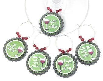 Green Got Wine Charms -  5 per set