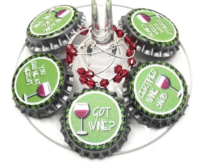 Green Got Wine Charms -  5 per set