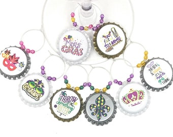 Mardi Gras - Got Beads Wine Charms - 8 per set