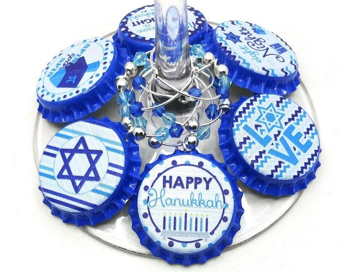 Hanukkah Wine Charms Gift - Blue Bottle Cap 6 pack