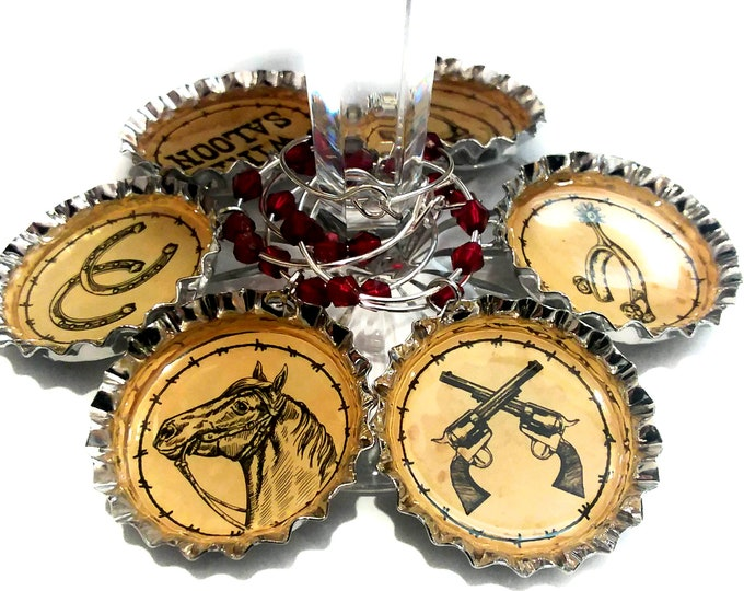 Western Horse Wine Charms - Bottle Cap Charms, 6 Per Set