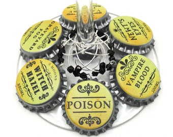Halloween Bottle Cap Wine Charms - Newts Eyes - 6 Pack - Party Favor Packaging Available