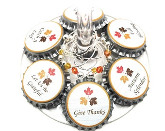Thanksgiving Bottle Cap Wine Charms - 8 charms/set - Party Favor Packaging Option Available