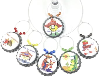 Cinco De Mayo Wine Glass Charms - 6/pack