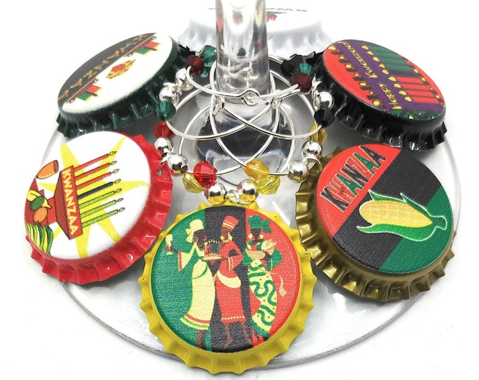 Kwanzaa Wine Charms Gift - Kwanzaa Party Supplies - Bottle Cap 6 pack