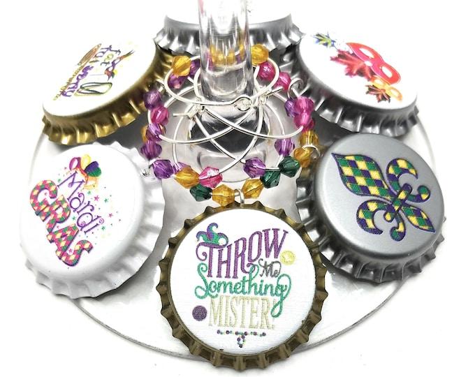 Mardi Gras - Got Beads Wine Charms - 8 per set