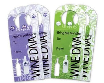 Wine Bottle Gift Tag - Wine Diva, Sold Individually