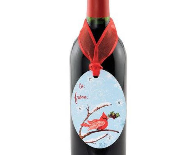 Wine Bottle Gift Tag - Winter Cardinal Gift Tag, Christmas Gift Tag, Sold Individually