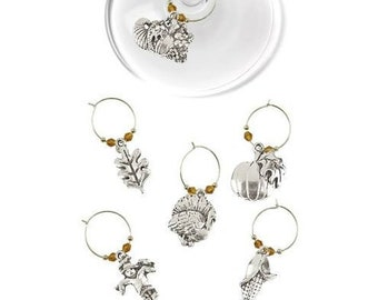 Thanksgiving Wine Charms - Silvertone 6/pack