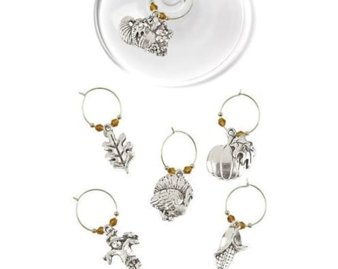 Thanksgiving Wine Charms - Silvertone 6/pack - Party Favor Packaging Option Available