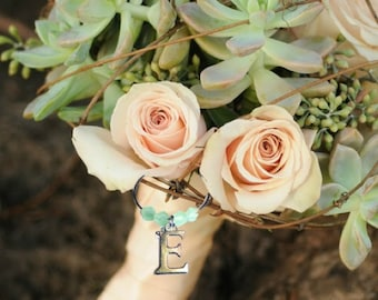 Bouquet Charms - Initial Bouquet Charm - Your choice of bead color