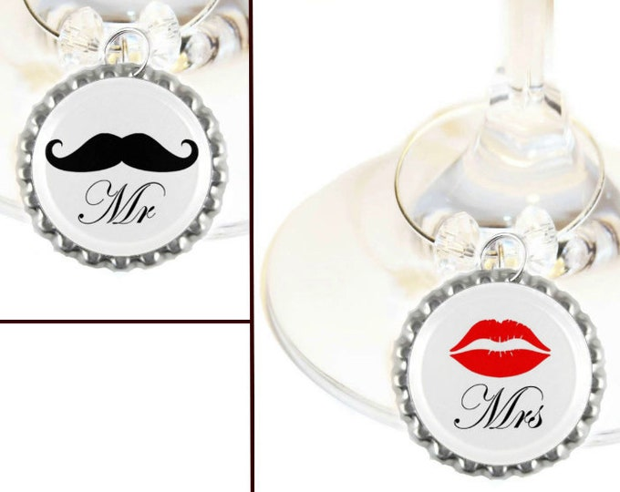 Mr. And Mrs. Kisses Wine Charms - Pack Of 2