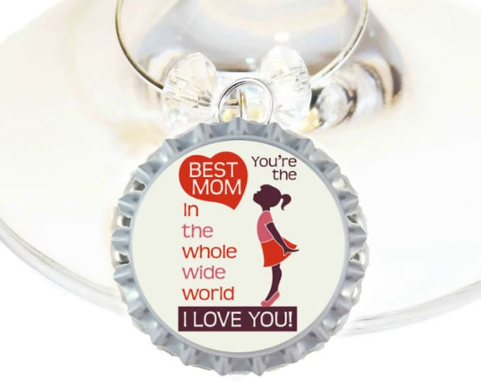 Mother's Day Wine Charm Gift For Mom - I Love You -Choose your bead color, sold individually