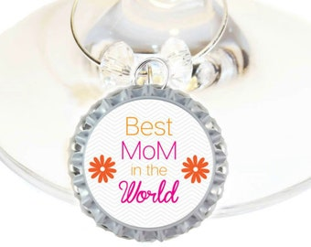 Christmas Wine Charm Gift For Mom - Best Mom In The World - Bottle Cap -Choose your bead color, sold individually