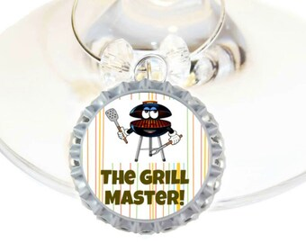 Father's Day Wine Charm Gift For Dad - Grill Master - Bottle Cap - sold individually