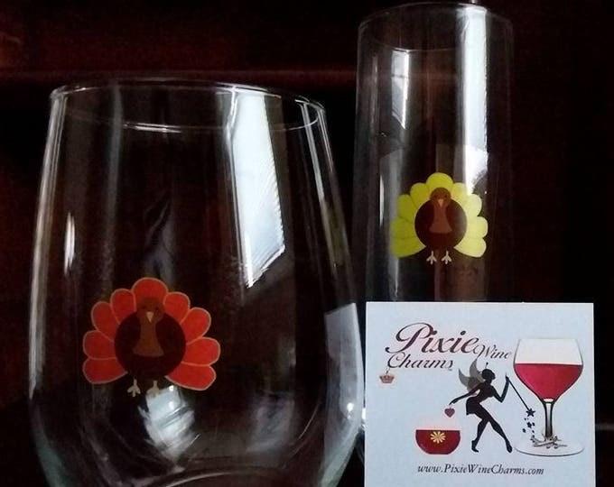 Thanksgiving Glass Decals - Turkeys - Gobble 'Til You Wobble - Thanksgiving Party Supplies 9-Pack