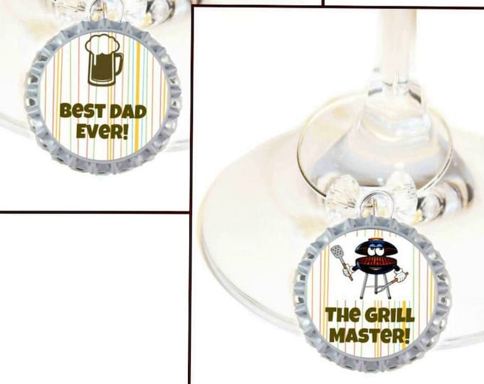 Father's Day Wine Charm Gift For Dad - Best Dad Ever - 2/Pack