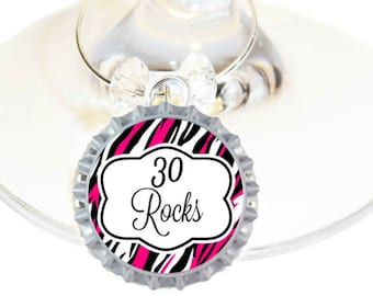 30th Birthday Bottle Cap Wine Charms - Hot Pink 30 Rocks Pack of 10