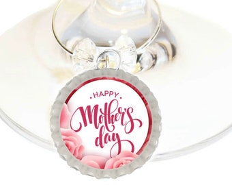 Mother's Day Wine Charm Gift For Mom - Bottle Cap -Choose your bead color - 4/pack
