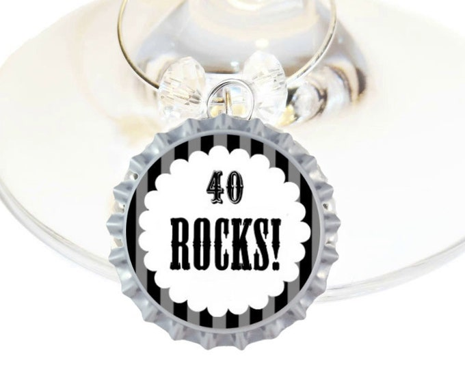 Vintage Dude 40th Birthday Bottle Cap Wine Charms - Pack of 8