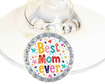 Wine Charm Christmas Gift For Mom - Best Mom Ever -Choose your bead color, sold individually