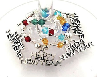 New Year's Eve Wine Charms - Happy New Year Silver tone - 6 per set