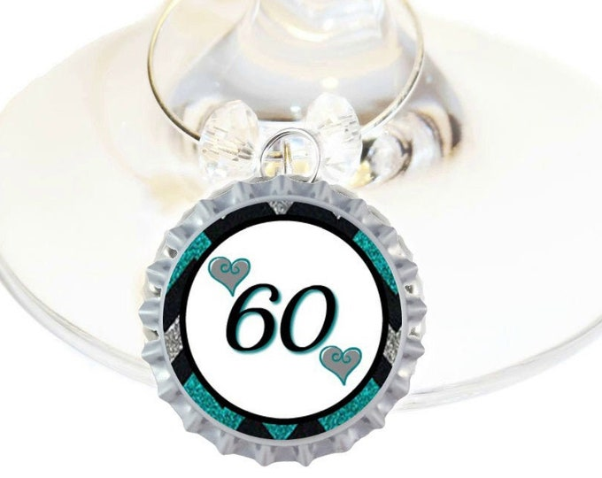 60th Birthday Bottle Cap Wine Charms - Pack of 8