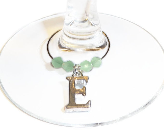 Personalized Wedding Wine Charms With An Initial Charm and your choice of bead color - Bridal Party Gift