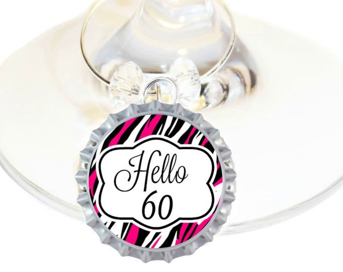 60th Birthday Bottle Cap Wine Charms - Pink Pack of 10
