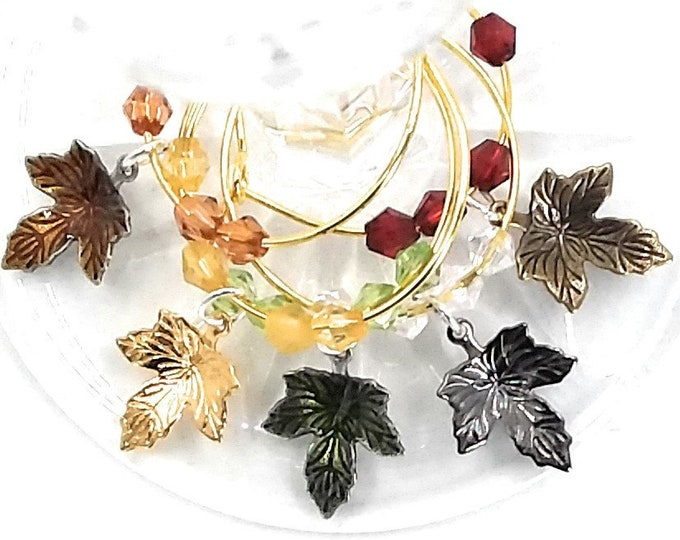 Thanksgiving Wine Charms Autumn Leaves - Metal Blend Petite - Pack Of 5 - Party Favor Packaging Option Available