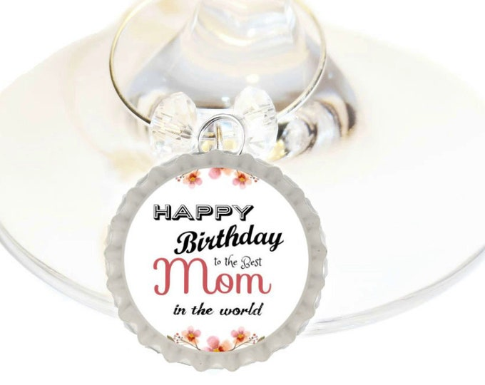 Birthday Wine Charm Gift For Mom - Bottle Cap -Choose your bead color, sold individually